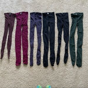 6 Pair Wolford Tights Black, Green, Berry, Purple